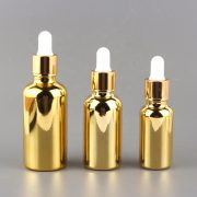 20Ml 30Ml 50Ml Anodized Gold Essential Oil Glass Bottles With Dropper