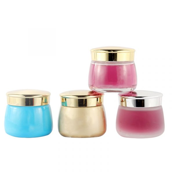 Latest New Design Luxury Blue Face Glass Cream Jars